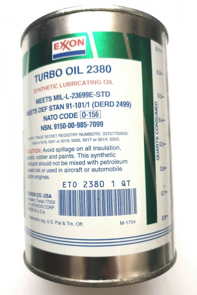 EXXON TURBO OIL 2380 1 U.S. Quart- 946 ml turbine engine and accessory